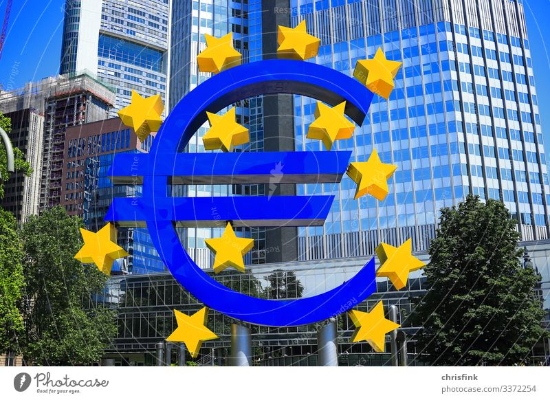 Euro sign in front of bank building Economy Industry Trade Art House (Residential Structure) High-rise Architecture Blue Shopping Luxury euro zone Money brexite
