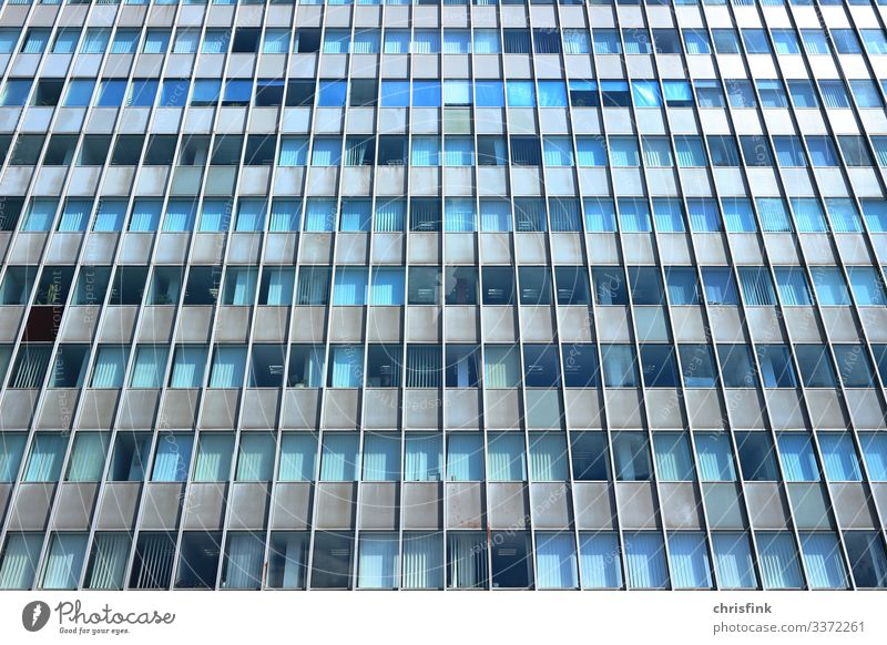 High-rise building facade glass Colour photo Old Glas facade Office building School Study Work and employment Metal Glass Concrete Stone Industrial plant Tower