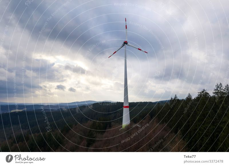 #Windmill in the forest Winter Energy industry Renewable energy Wind energy plant Environment Nature Landscape Forest Esthetic Pinwheel Colour photo