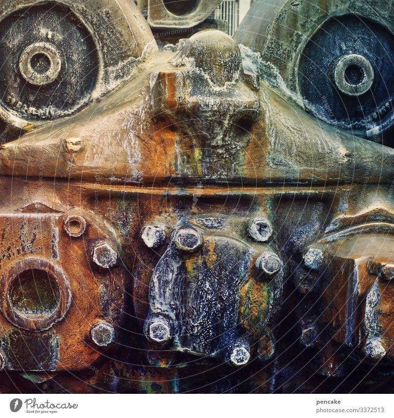 Face Art Design Metal Esthetic Adventure Uniqueness Well Sculpture Machinery Iron Rivet Friedrichshafen