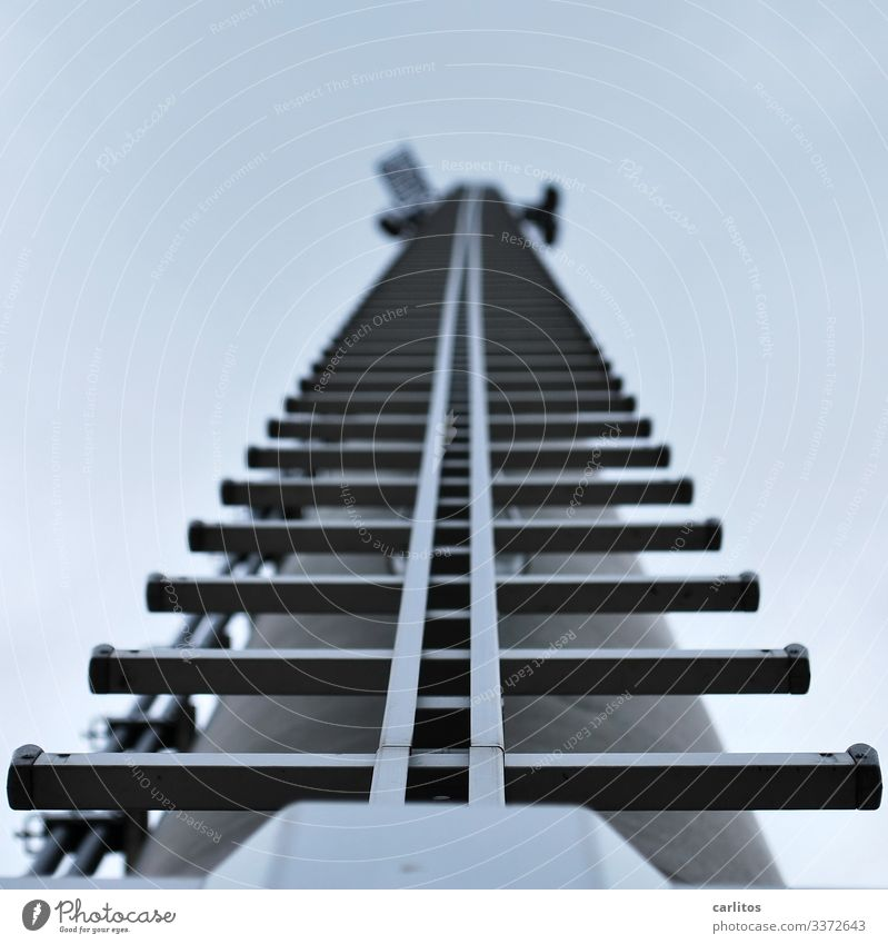 taken off | stairway to hessen Pole Electricity pylon Broadcasting tower Ladder Rung Worm's-eye view Go up Climbing Symmetry Gray Metal Threat Dangerous Risk