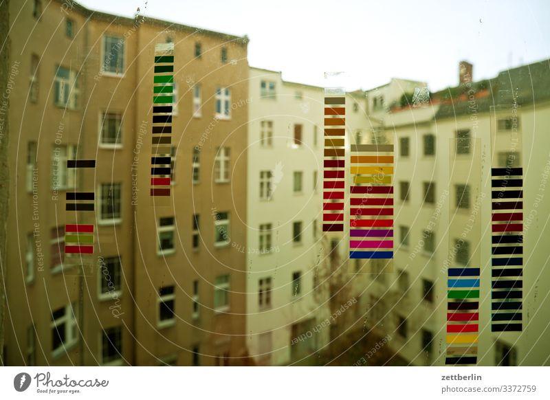 Backyard with coloured stripes Colour Colour wheel Multicoloured Colour tone Decoration Detail Paint traces Paintbox Trace of color Colour value Dye