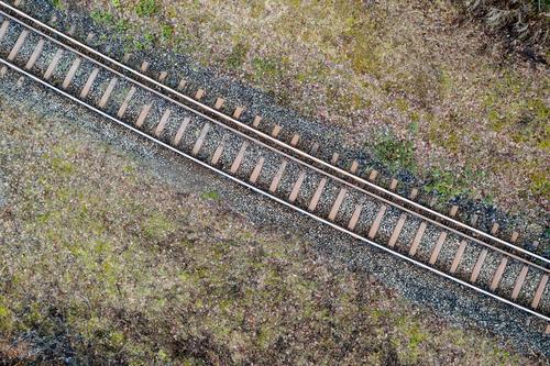 #Railroad tracks from above Winter Transport Means of transport Traffic infrastructure Passenger traffic Public transit Rush hour Rail transport Train travel