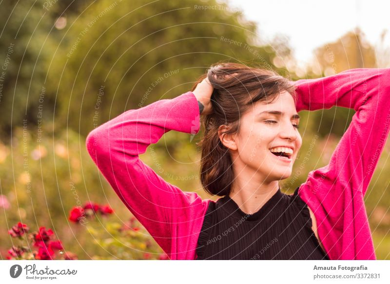 Woman smiling happy Human being Feminine Young woman Youth (Young adults) Adults Body 1 18 - 30 years Athletic Elegant Thin Beautiful Emotions Moody Joy