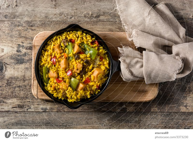 Fried rice with chicken and vegetables on frying iron pan asian Chicken Chinese Cooking Delicious Dish Food Healthy Eating Food photograph Frying Pan Grain