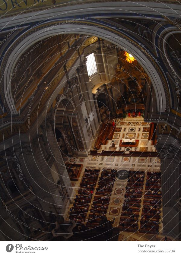 St. Peter's Basilica from the inside St. Peter's Cathedral Rome Italy Ant Architecture pay benevolence Pope Religion and faith Dome Strawberry