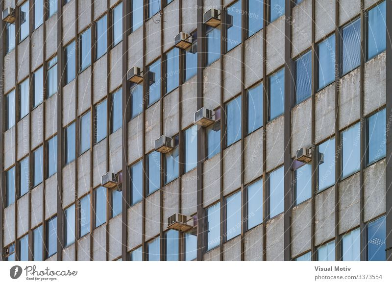 Facade of an old 1964's building Design Building Architecture Old Blue Colour air conditioning units windows building facade urban urban facade Low angle view