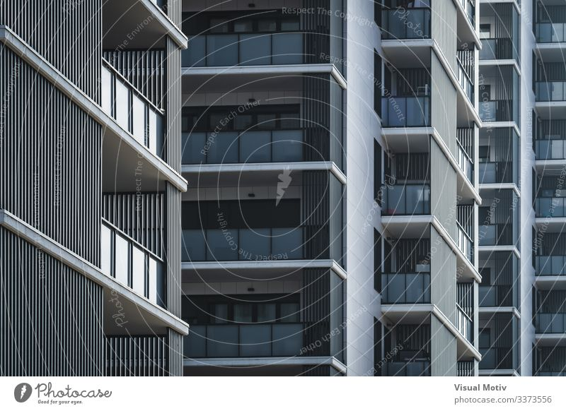 Geometrical view of residential buildings Design Flat (apartment) Building Architecture Facade Balcony Colour windows rows of balconies building facade urban