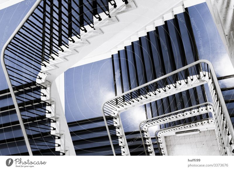 View from above into a staircase Downward Staircase (Hallway) Interior shot stairwell Handrail Winding staircase Banister Esthetic Deserted blue stairs Blue