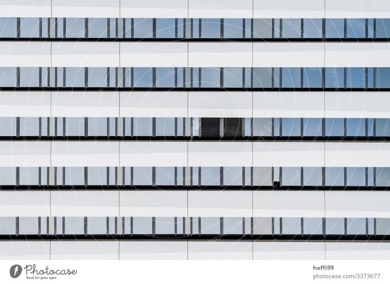 monotonous white window facade with two black windows Capital city High-rise Bank building Facade Window Esthetic Authentic Sharp-edged Simple Elegant