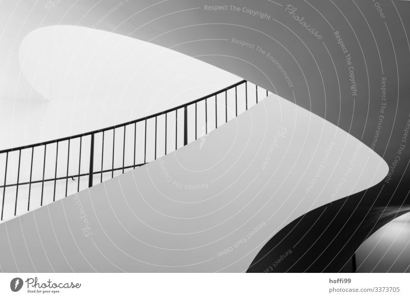 elegant curved staircase Round round wall Staircase (Hallway) Banister incidence of light round design shape Modern architecture elegant background,""