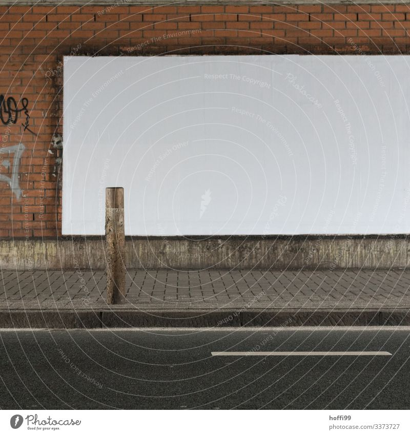 empty white billboard in the tunnel with street and boundary post Billboard billboard advertising Empty White Tunnel Street Brick wall empty billboard Deserted