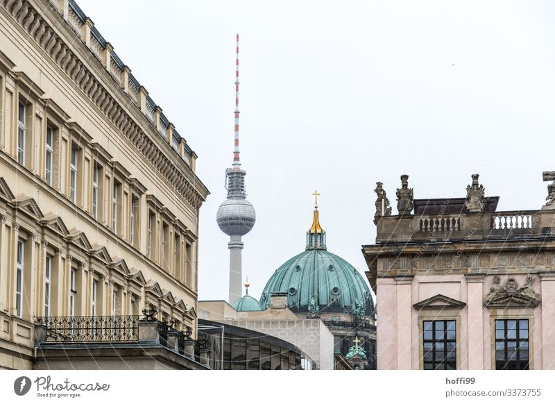 Berlin television tower with cathedral and museums Berlin TV Tower Berlin Cathedral Classical modern Classicism domed building Dome Copper roof City panorama
