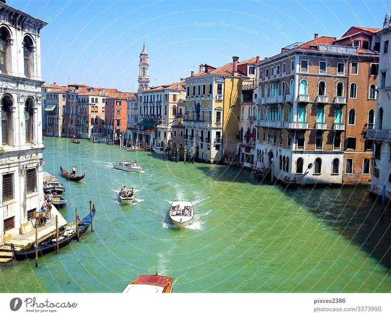 Boats on Canal Grande in Venice Vacation & Travel Summer architecture blue boat building canal channel City cityscape Europe European famous Gondola (Boat)