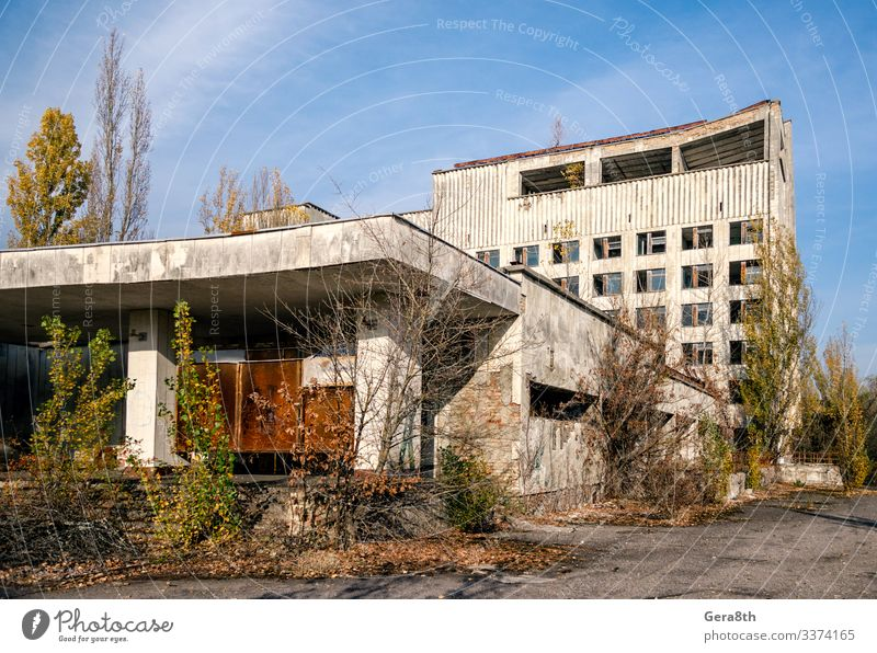 abandoned hotel in the empty city of Chernobyl without people Sky Vacation & Travel Old Plant Blue Town Green Tree House (Residential Structure) Clouds