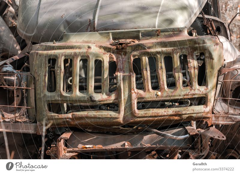 radiator rusty army truck in the forest in Chernobyl Vacation & Travel Tourism Trip Autumn Transport Car Old Threat Dangerous Environmental pollution Pripyat