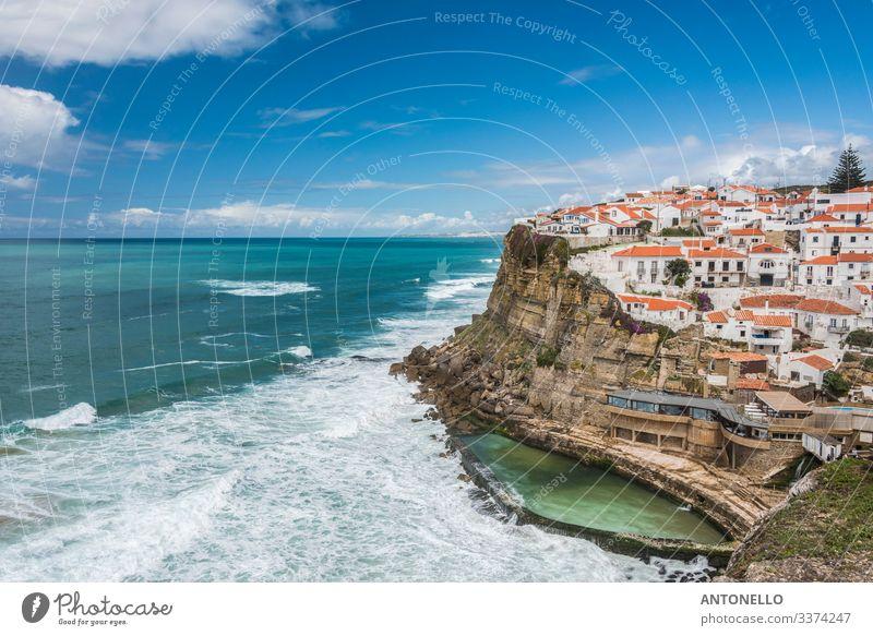 Cliff at Azenhas do Mar on the Portuguese Atlantic coast Vacation & Travel Tourism Summer Ocean Waves Environment Landscape Sky Clouds Horizon Sunlight Rock