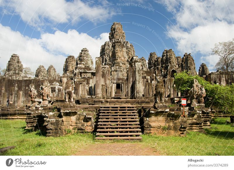 Bayon Temple in Cambodia Vacation & Travel Tourism Trip Adventure Culture Asia South East Asia Ruin Building Architecture Monument Old Historic Mysterious