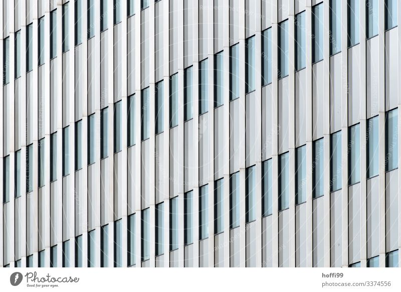 abstract view of a high-rise building facade with vertical lines of the fixed border High-rise Bank building Building Facade Window Esthetic Infinity Bright