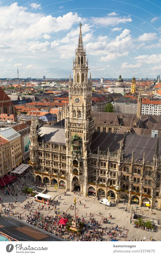 City hall of Munich at Marienplatz, central square in the Munich city centre, Germany. germany Europe Bavaria Town Tourist Attraction Historic Architecture
