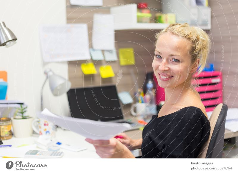 Business woman talking on mobile phone accepting papers. Happy Desk Table Work and employment Profession Office work Workplace Company To talk Telephone