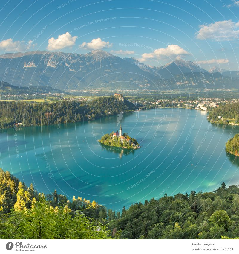 Panoramic view of Lake Bled, Slovenia Beautiful Vacation & Travel Tourism Island Mountain Nature Landscape Autumn Forest Hill Alps Village Town Church Castle