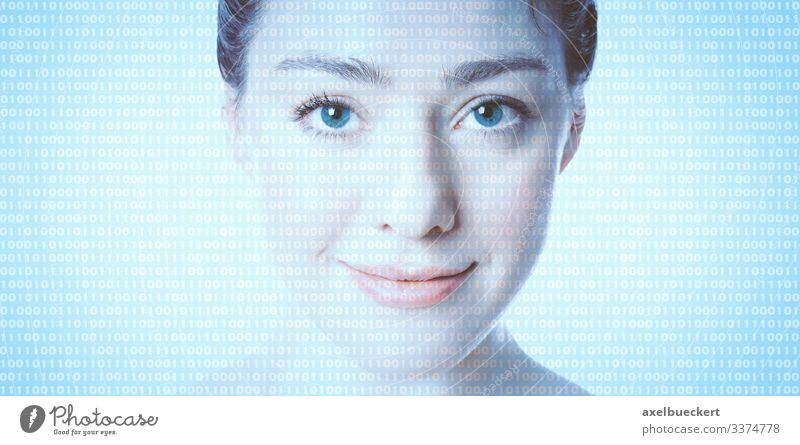 AI artificial intelligence - female face with binary code Artificial intelligence Binary code Face Avatar glass human Advancement Future Computer Software