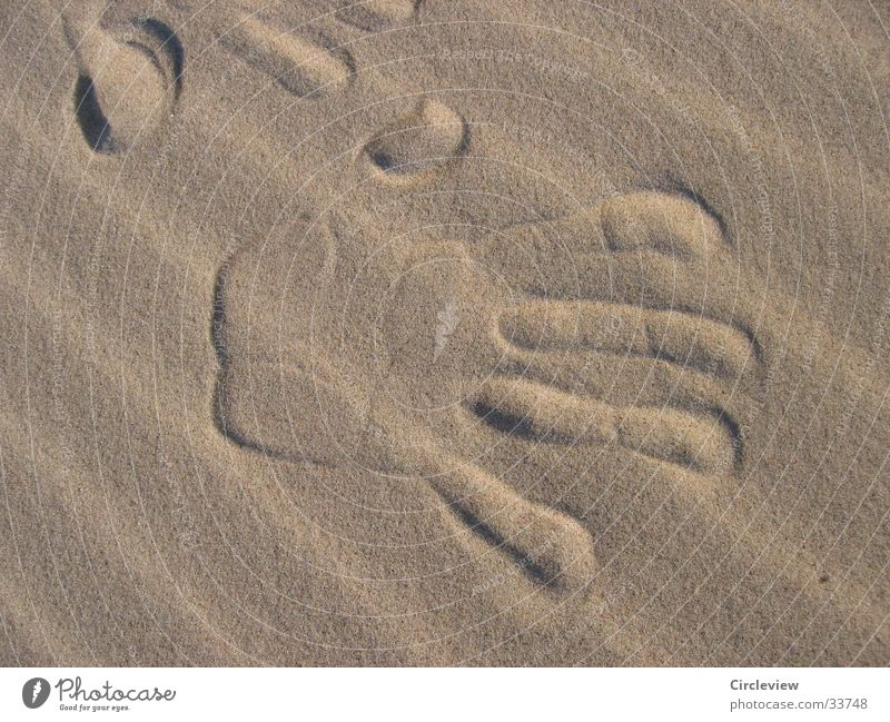The transient impression of a journey Beach Hand Men`s hand Transience Impression Ocean Fingerprint Europe Sand Wind Sun Baltic Sea Baltic sand sea sand