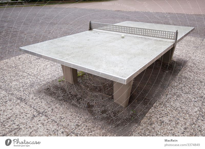 table tennis table Leisure and hobbies Playing Sports Ball sports Joy Table tennis table Exterior shot Deserted Copy Space Table tennis ball Net Concrete slab