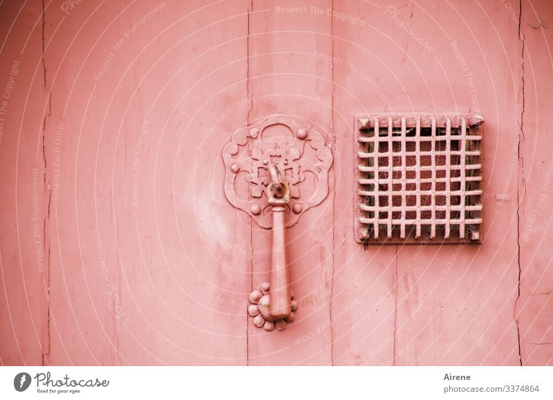 pink door with door knocker and metal grille in front of square peephole Pink Monochrome Old Door Knocker Grating Metal grid metal grid Barricaded Closed aloof