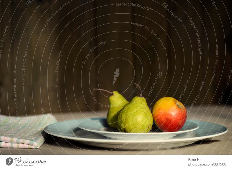 Apple and pears Food Fruit Pear Crockery Plate Healthy Eating Delicious Natural Green Red Vitamin Napkin Still Life Colour photo Exterior shot Deserted