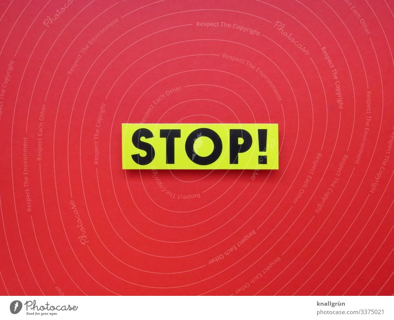 STOP! stop Red White Black Signage Signs and labeling Colour photo Copy Space bottom Copy Space left Studio shot Deserted Characters Copy Space right