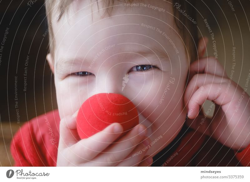Three year old red clown Living or residing Party Feasts & Celebrations Carnival Human being Boy (child) Infancy Head 1 1 - 3 years Toddler Clown Nose
