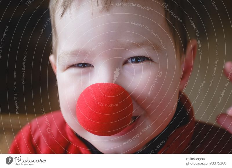 Fun with the clown nose Playing Living or residing Carnival Boy (child) Head 1 Human being 1 - 3 years Toddler Feasts & Celebrations Laughter Happiness