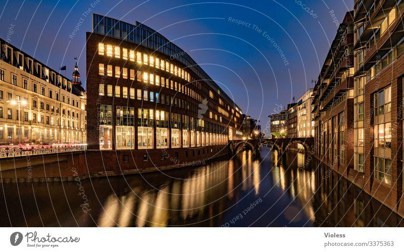 Hamburg, Stadthausbrücke, night, lights, time exposure City House Bridge Night clearer Long exposure Office Fleet Dark reflection Architecture