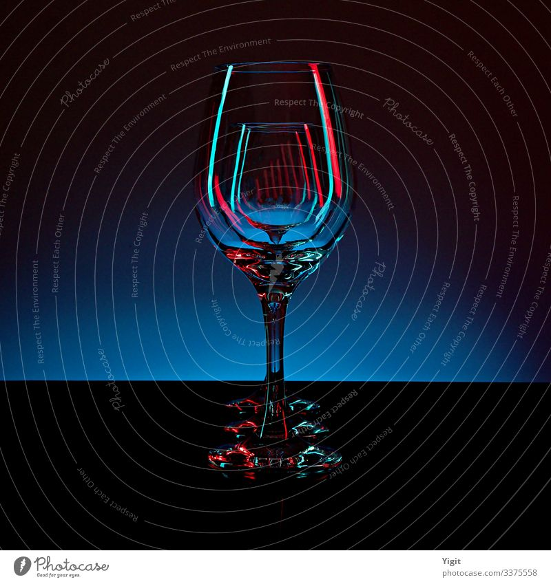 Three Wine Glasses on the Blue Gradient Background Decoration Esthetic Design Elegant Colour Contentment Idea Inspiration Kitsch Creativity Art Luxury Modern