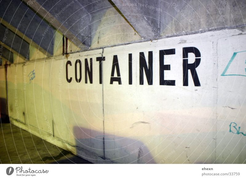 containeriser Wall (building) Lettering Garage Concrete Light Industry Container Underpass