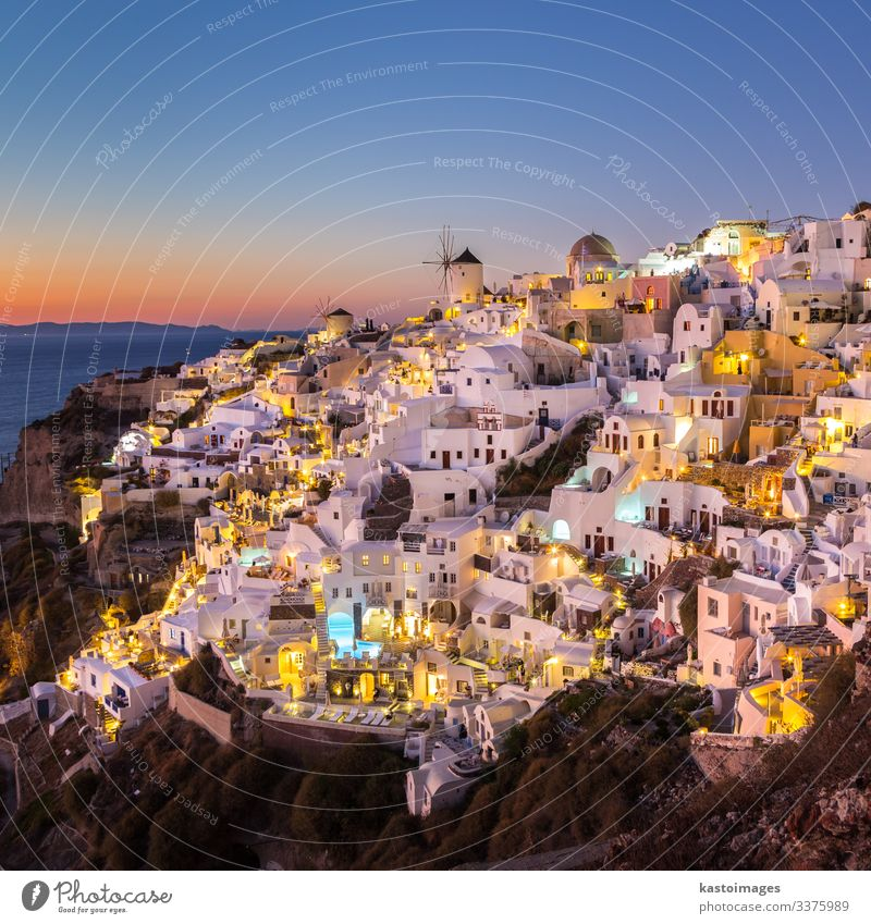 Oia village at sunset, Santorini island, Greece. Beautiful Vacation & Travel Tourism Summer Ocean Island House (Residential Structure) Culture Nature Landscape