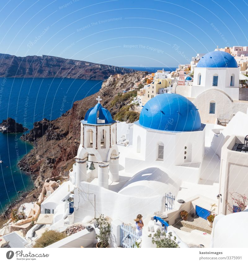 Traditional greek village of Oia, Santorini island, Greece. Style Beautiful Vacation & Travel Tourism Summer Ocean Island Mountain House (Residential Structure)
