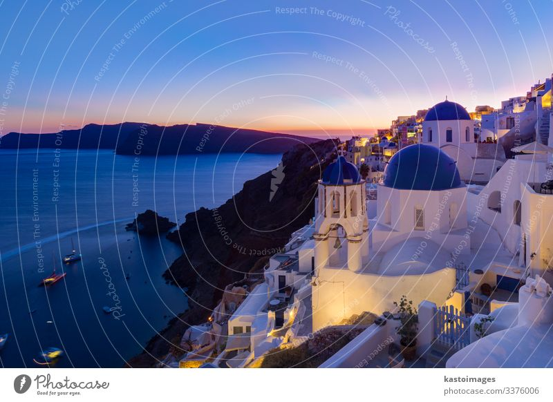 Greek village of Oia at dusk, Santorini island, Greece. Style Beautiful Vacation & Travel Tourism Summer Ocean Island House (Residential Structure) Culture