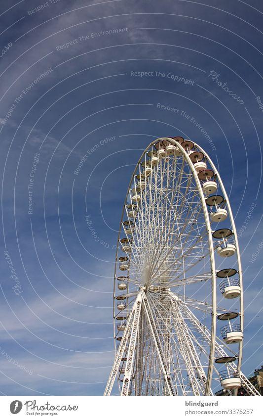 Wheel keeps on turning Ferris wheel Fairs & Carnivals Joy Feasts & Celebrations Theme-park rides Deserted Rotate Colour photo Sky Amusement Park Carousel Tall