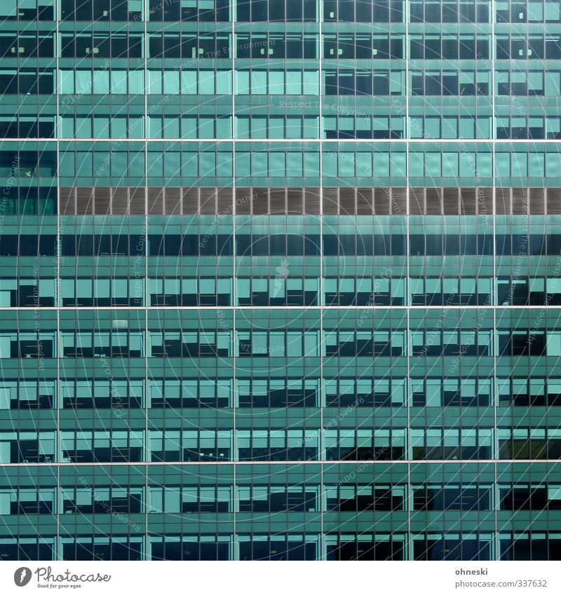 Office space for rent New York City Town High-rise Architecture Facade Window Roller blind Glass Green Turquoise Business Competition Growth Office building