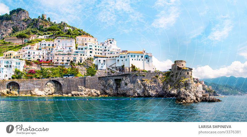 Panoramic of Amalfi, Campania, Italy. Vacation & Travel Tourism Summer Beach Ocean Island Mountain House (Residential Structure) Nature Landscape Hill Coast