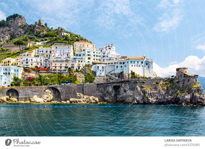 Panoramic view of Amalfi coast, Italy Vacation & Travel Tourism Summer Beach Ocean Island Mountain House (Residential Structure) Nature Landscape Hill Coast