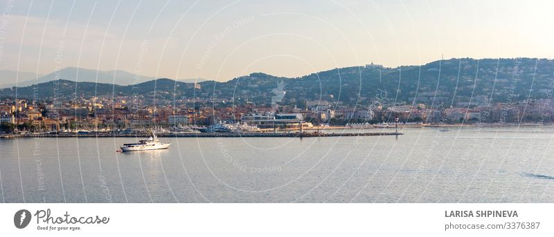 Panoramic view of Cannes, coastline Cote d'Azur, France Luxury Beautiful Vacation & Travel Tourism Summer Beach Ocean Landscape Coast Town Harbour Architecture