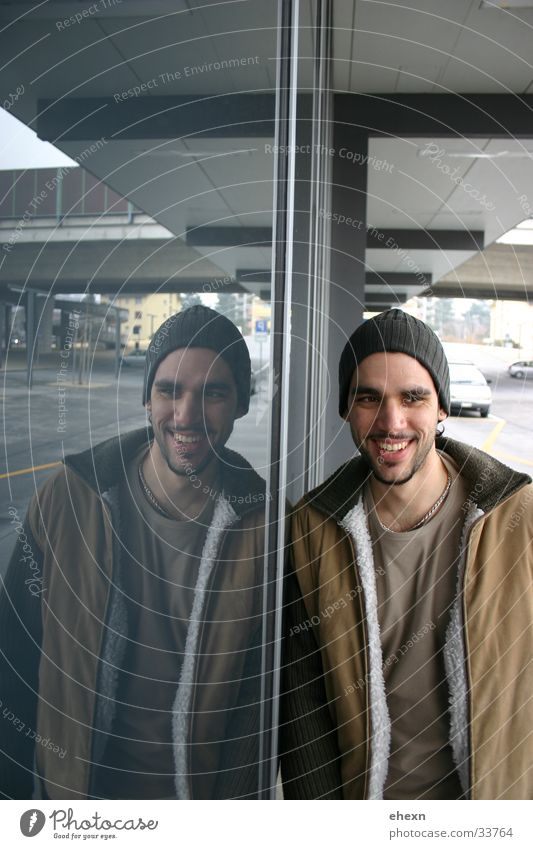 mirror mirror mirror Grinning Reflection Portrait photograph Contentment Man Laughter Train station