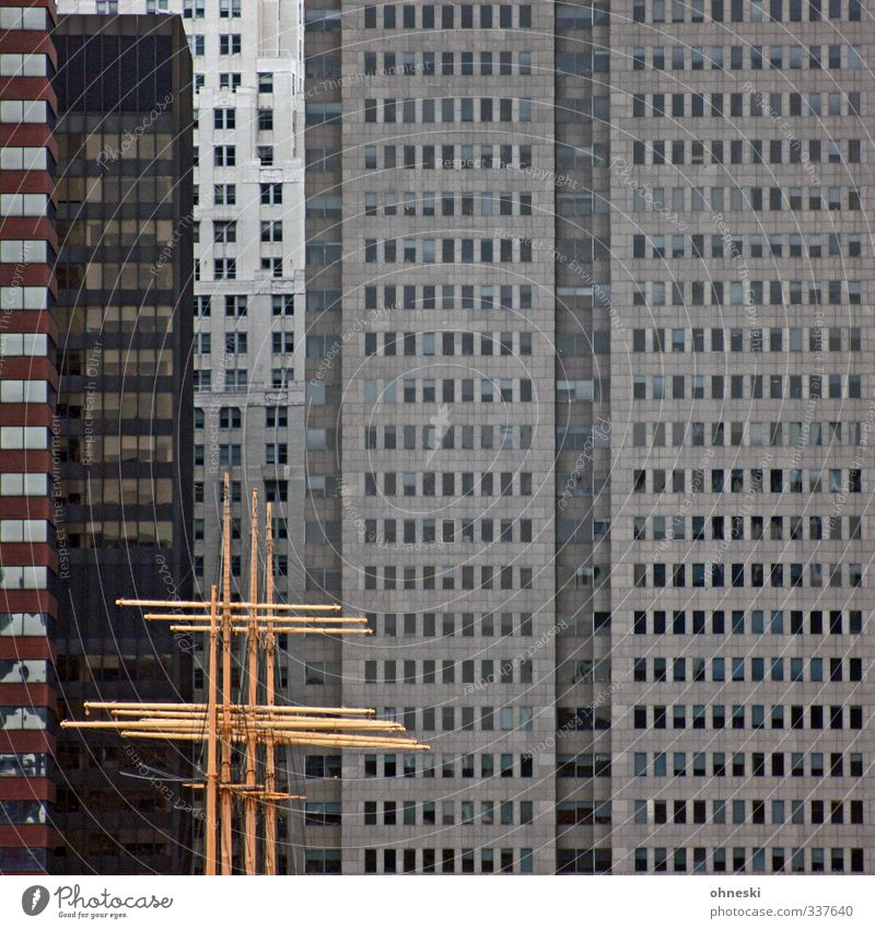 City House (Residential Structure) Window Freedom Facade High-rise Modern Adventure Navigation Mast New York City Port City Sailing ship