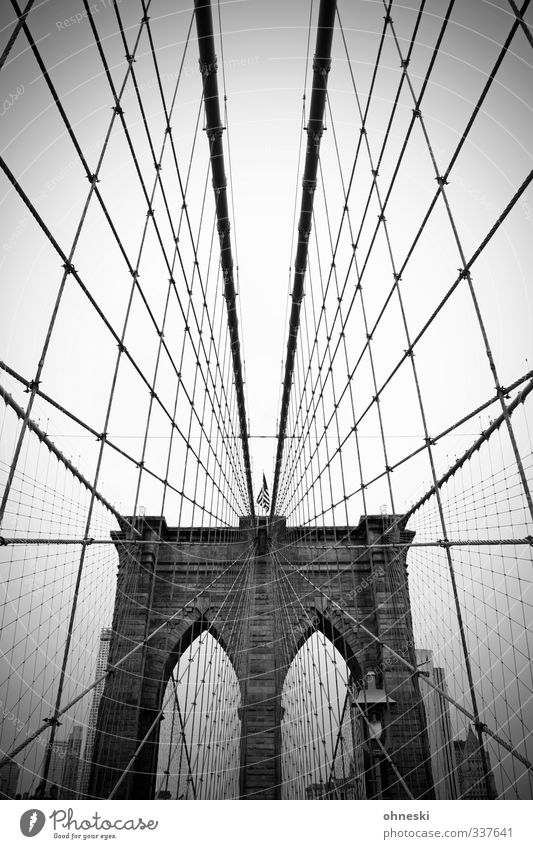 No sleep to Brooklyn New York City USA Town Bridge Architecture Tourist Attraction Brooklyn Bridge Network Black & white photo Exterior shot