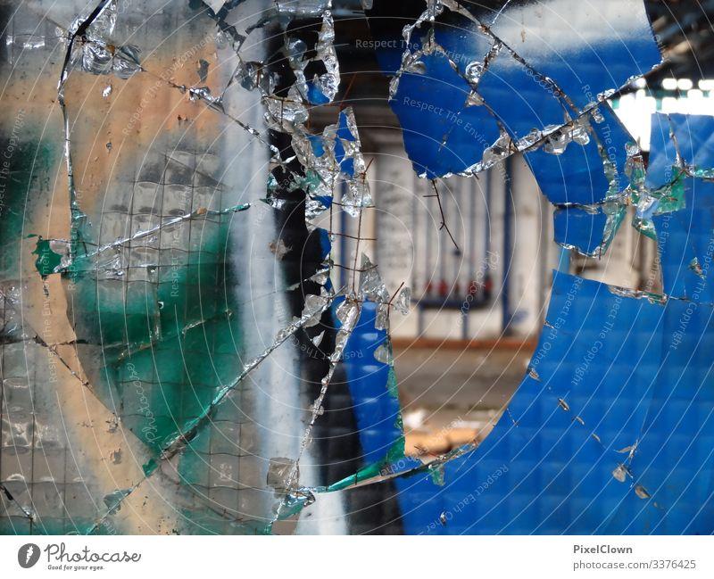 Graffiti and a broken window pane graffiti Street art Mural painting Art Pane lost places Deserted Ruin Factory hall