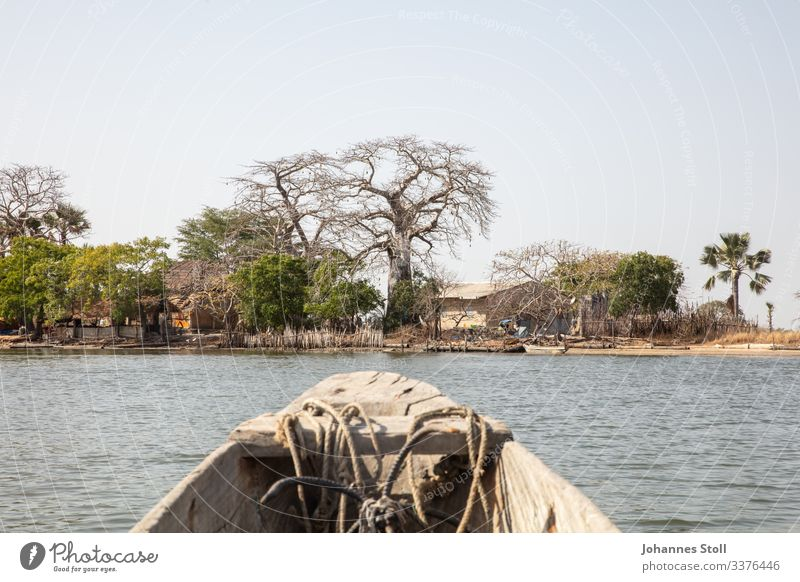 View of dugout canoe on small island village in the Casamance Dugout boat Pirogue ship Fisherman Angler ropes Anchor bow Water River Marsh Mangroves Senegal